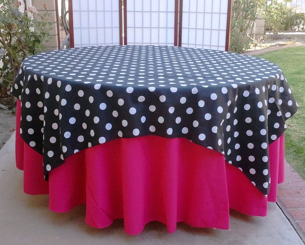 Square tablecloths lookup beforebuying for Black polka dot tablecloth