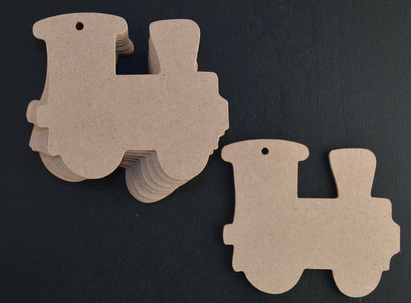 TRAIN MDF WOODEN CRAFT SHAPES CUT-OUTS BLANKS 3MM THICK X