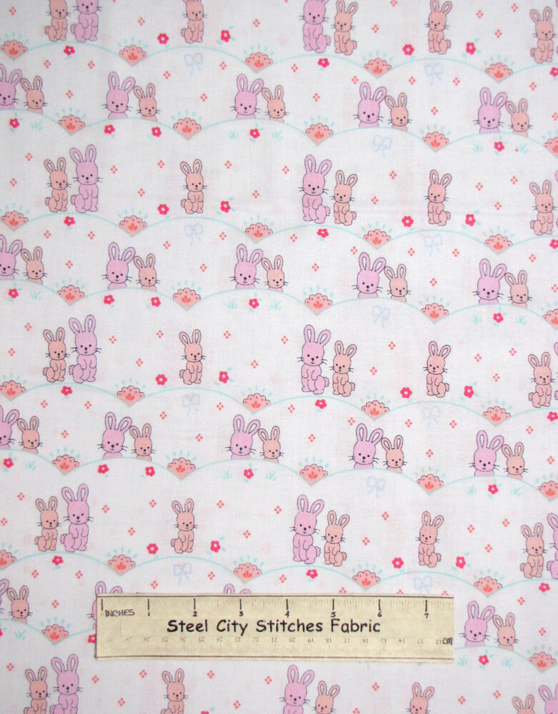 Bunny rabbit baby girl nursery bunnies cotton fabric for Nursery fabric sale