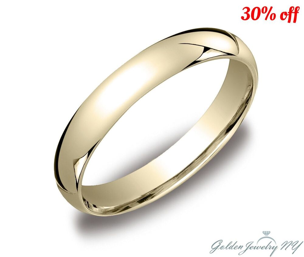 Mens Women Solid 10K Yellow Gold Plain Wedding Band ...
