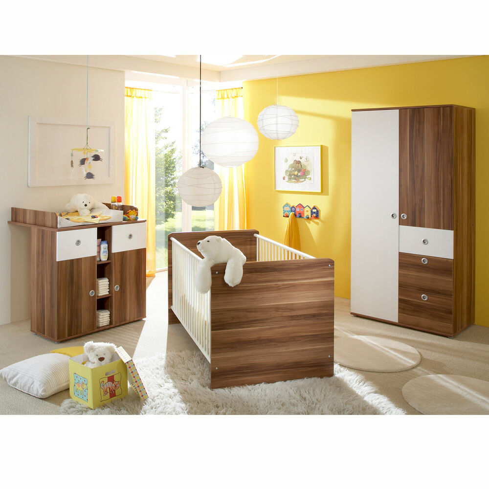babyzimmer wiki 3 teilig mit babybett wickelkommode kleiderschrank walnuss ebay. Black Bedroom Furniture Sets. Home Design Ideas