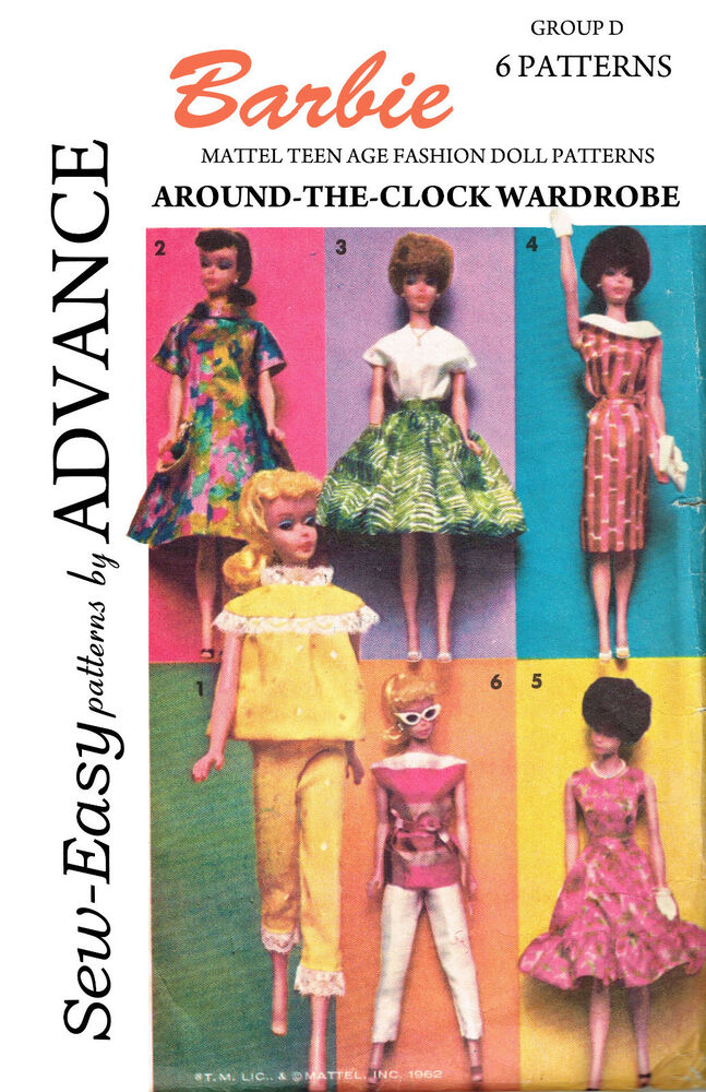Vintage Advance 1960's Barbie Doll Clothes Sewing Patterns   eBay