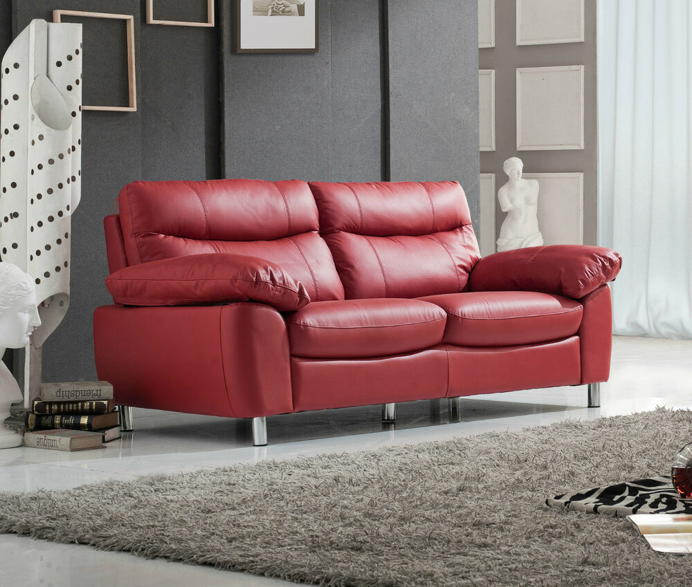 Red High Grade Leather 3 Seater 2 Seater Sofa Suite