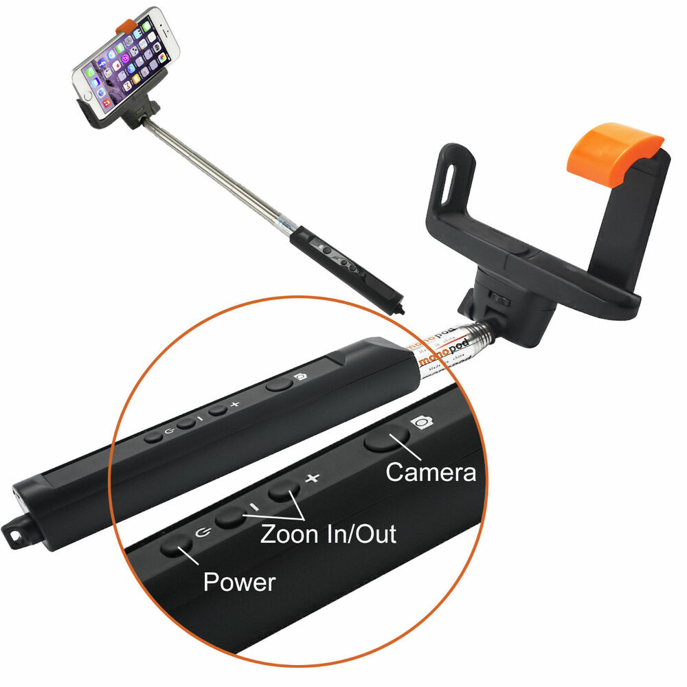 extendable monopod wireless bluetooth selfie stick builtin remote with zoom ebay. Black Bedroom Furniture Sets. Home Design Ideas