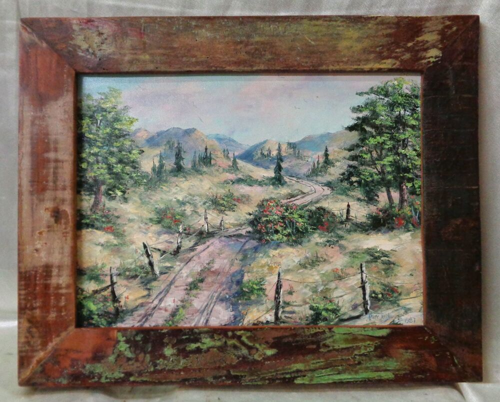 Signed 1987 Oil Painting On Canvas Oregon Trail W