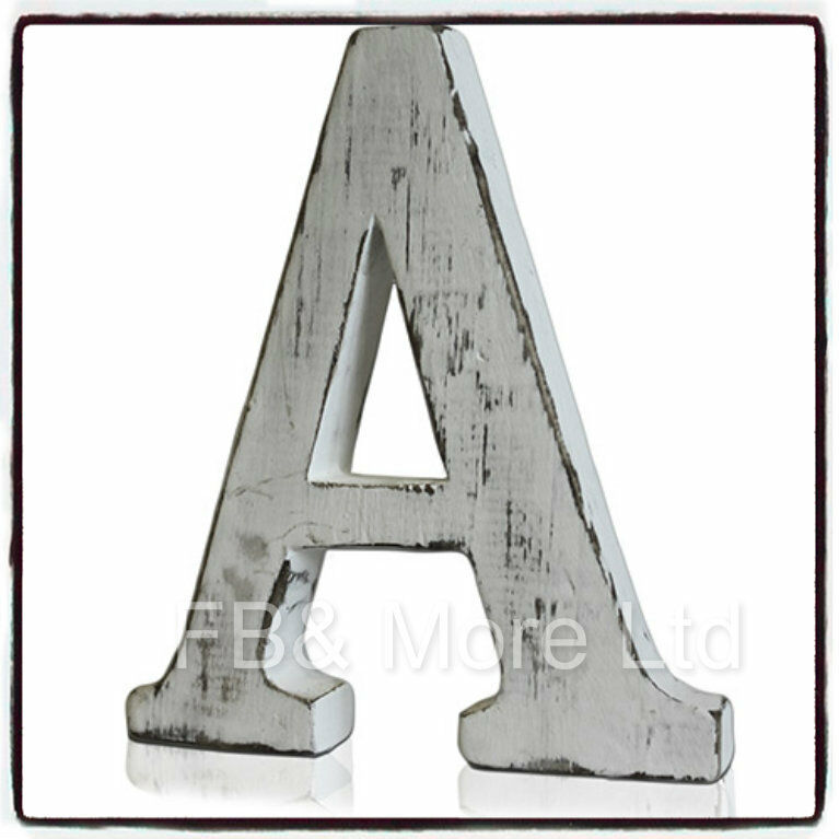 Shabby chic a z vintage white wooden letters large for Large freestanding wooden letters