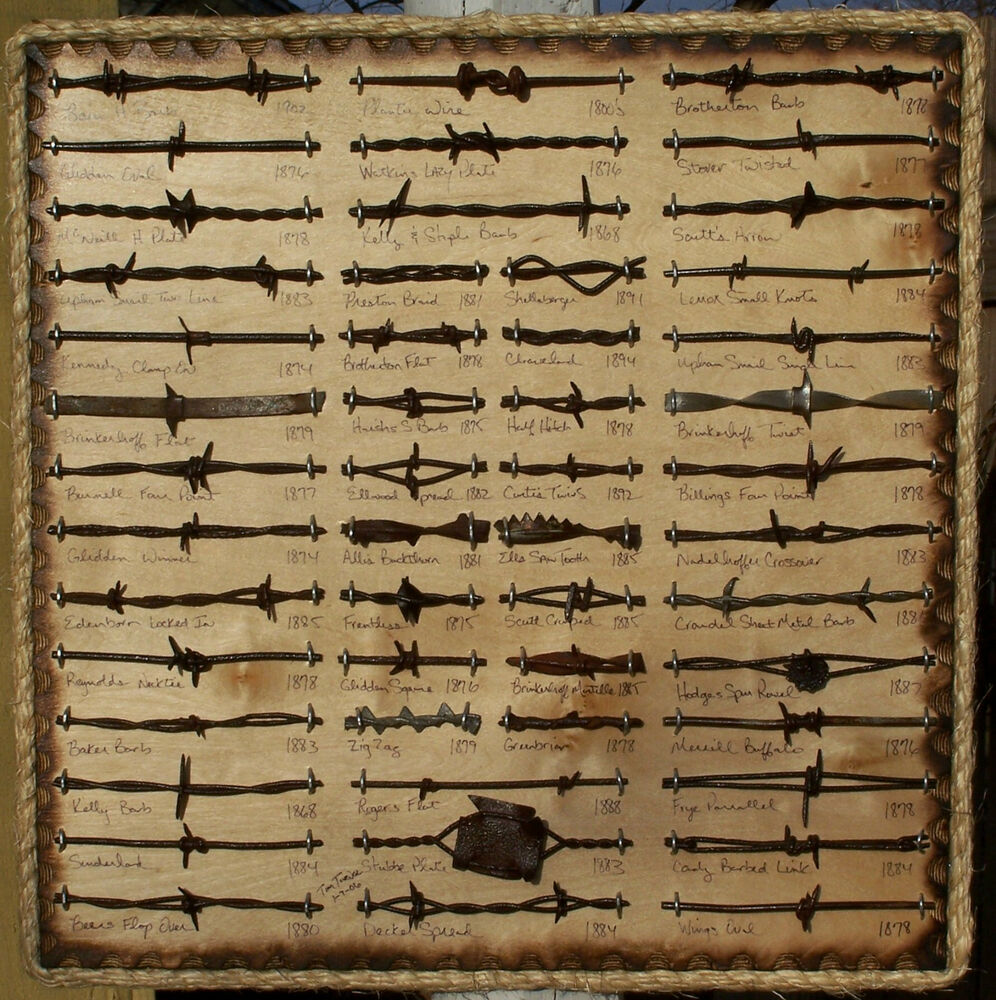 Large rustic western antique barbed wire display