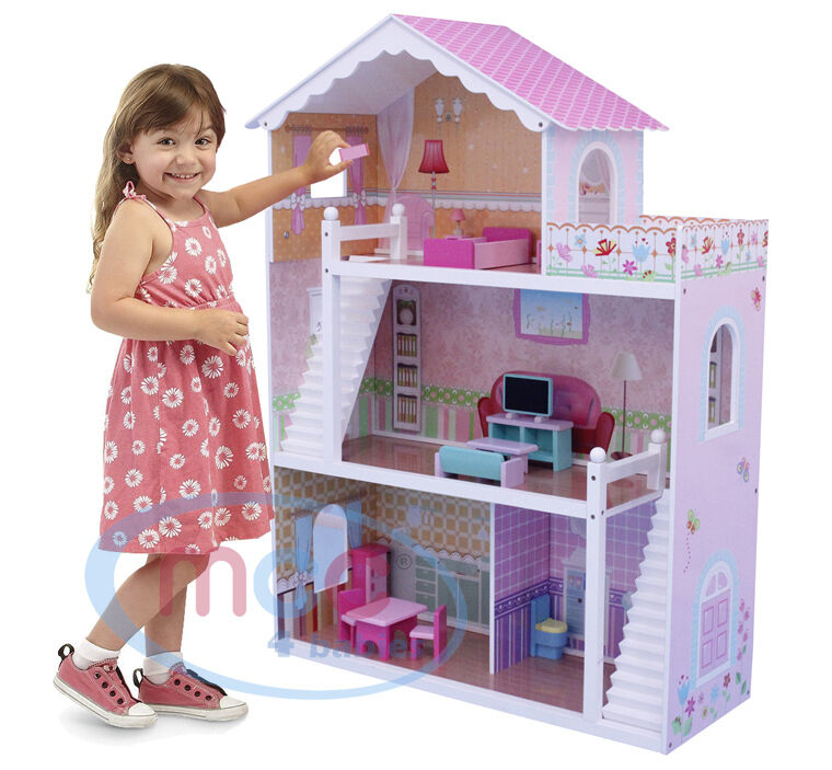 mcc wooden kids doll house with furniture staircase fits barbie dollhouse ebay. Black Bedroom Furniture Sets. Home Design Ideas