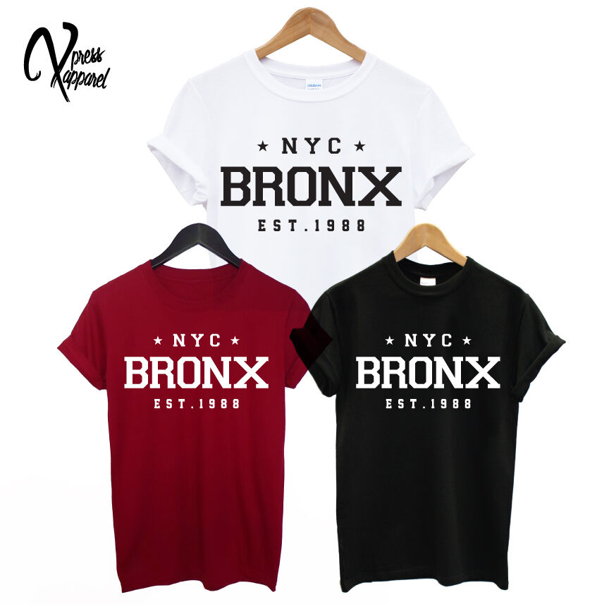 Nyc bronx est printed mens t shirt new york city street for New york printed t shirts