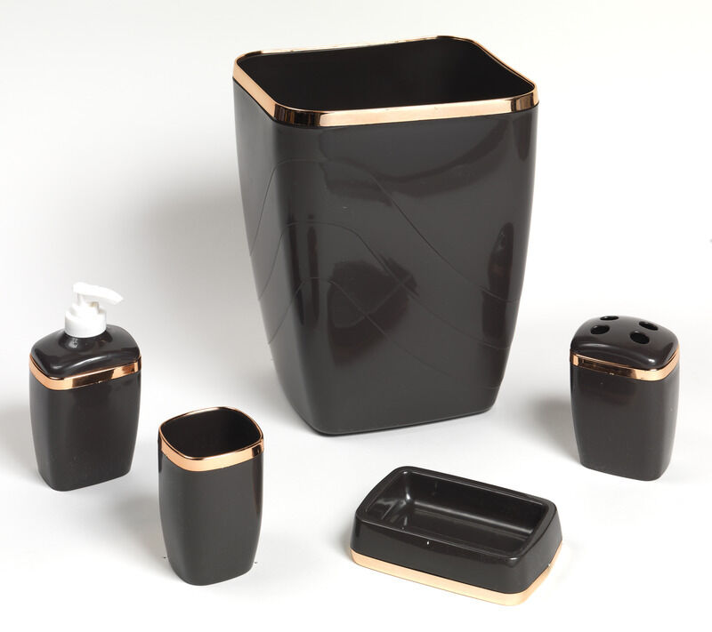 Bath accessory set 5 pc brown gold trim waste basket for Gold bathroom wastebasket