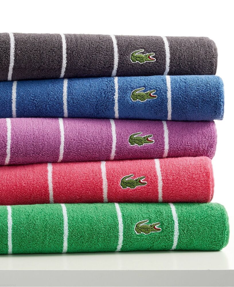 Washcloths History: LACOSTE 1PC GLADE/WHITE STRIPE HAND TOWEL BRAND NEW (4PC