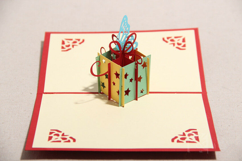 Holiday birthday gift box butterfly handmade crafts 3 d for Christmas card 3d designs
