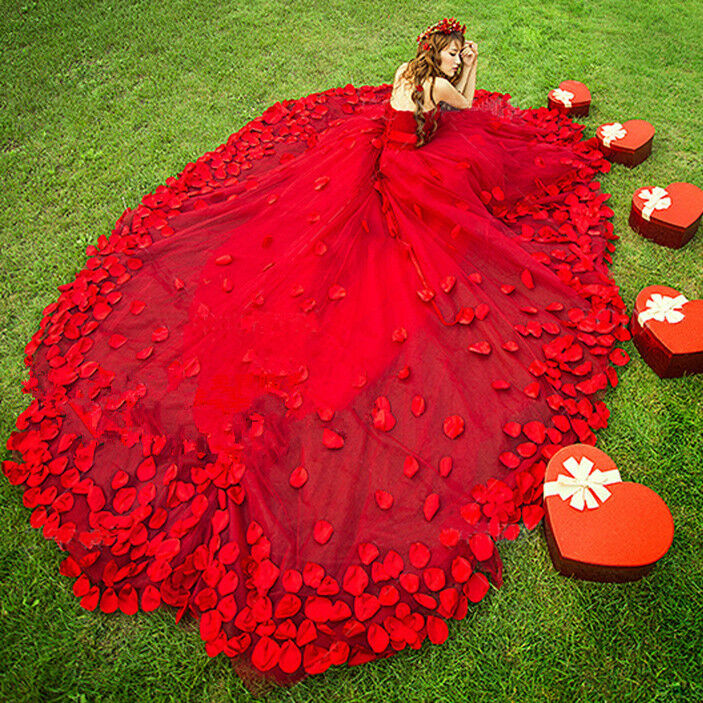 Red Petals Train Wedding Dress Prom Party Quinceanera