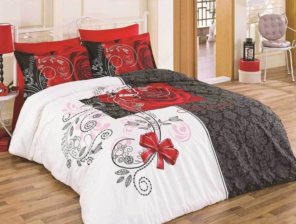 5 tlg bettw sche bettgarnitur 100 baumwolle kissen 200x200 cm rose 01 neu ebay. Black Bedroom Furniture Sets. Home Design Ideas