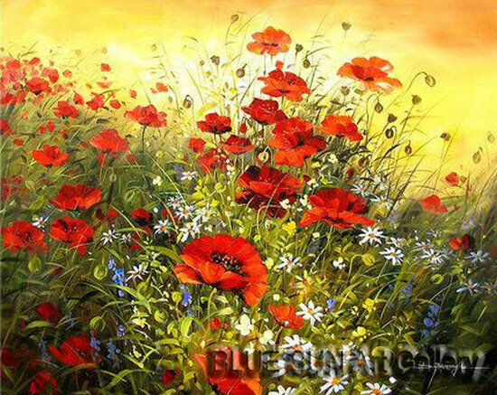 Modern abstract oil painting Canvas Wall Art Poppy Flower ...
