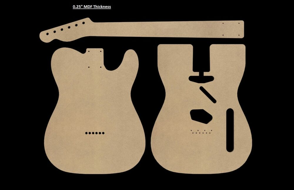 Telecaster mdf guitar body and neck template for Strat neck template