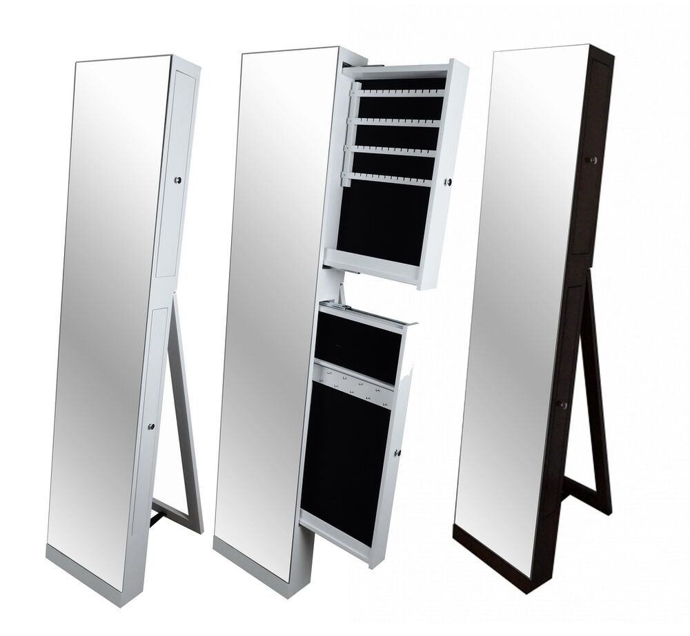 Large Full Length Floor Standing Mirror Jewellery Cabinet