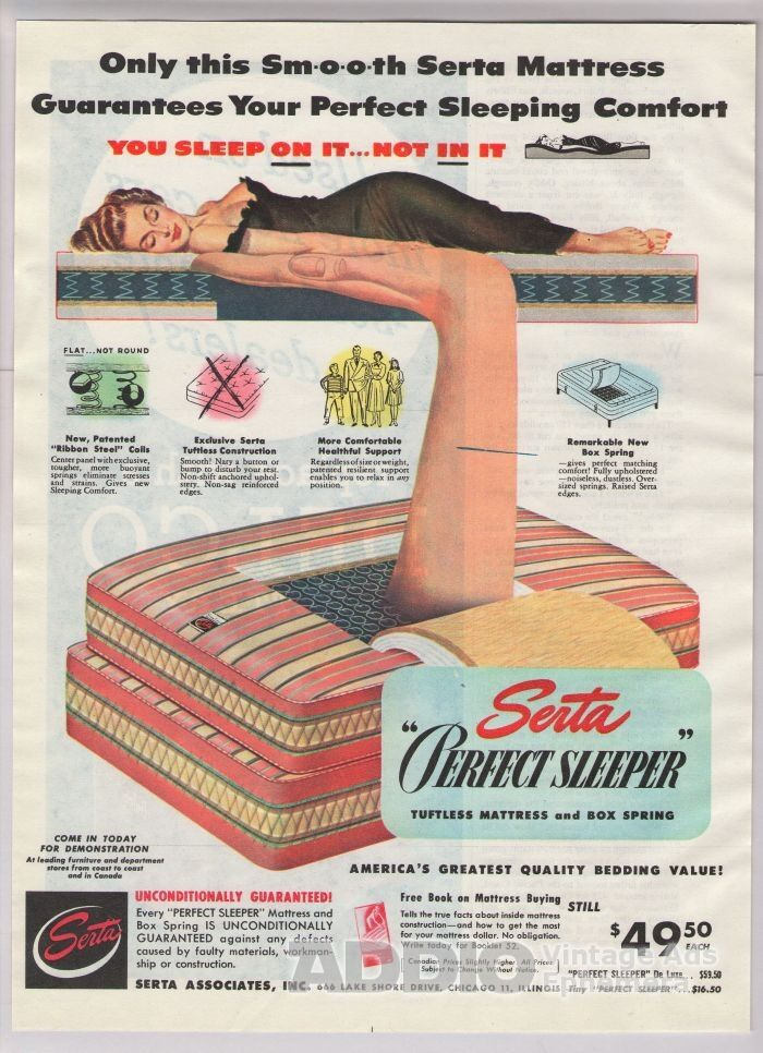 1948 Serta Mattress Sleeping Woman Sexy Black Negligee