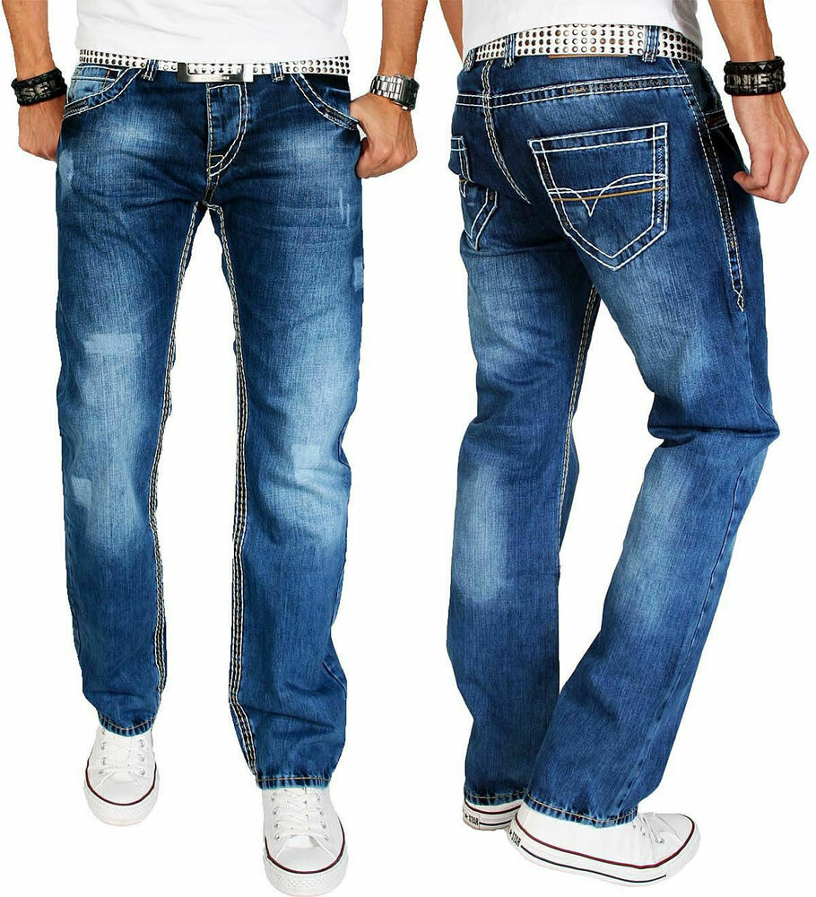 a salvarini herren jeans hose dicke wei e zier n hte mittelblau blau neu as008 ebay. Black Bedroom Furniture Sets. Home Design Ideas