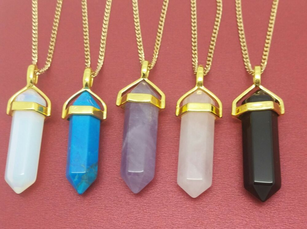 Healing crystal pendants crystal point necklace gold plated chakra prism healing aloadofball Images
