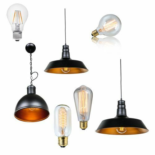 vintage industrie design deckenleuchte h ngelampe pendel gl hlampe gl hbirne led ebay. Black Bedroom Furniture Sets. Home Design Ideas