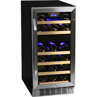 Compact 26 Bottle Built-In Dual-Zone Wine Cooler, Stainless Steel Chill Fridge