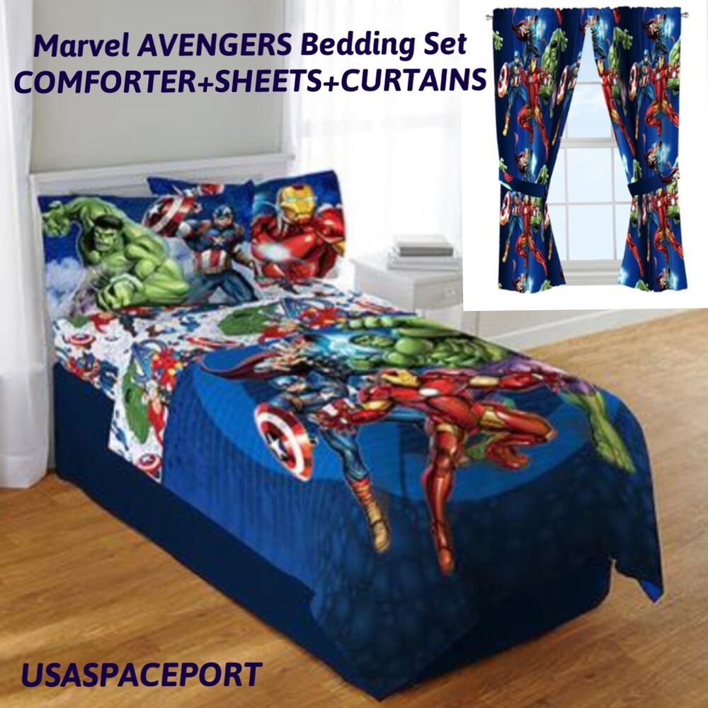 9pc Marvel AVENGERS Full-Double COMFORTER+SHEETS+CURTAINS SET Bed in a Bag Room | eBay