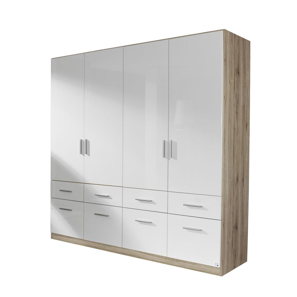 kleiderschrank 4 trg schubk sten schrank eiche sanremo weiss hochglanz neu ebay. Black Bedroom Furniture Sets. Home Design Ideas