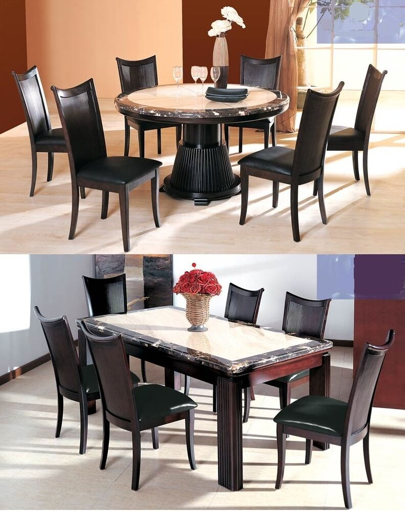 pcs dining set marble 2 toned finish table top sleek lines chairs