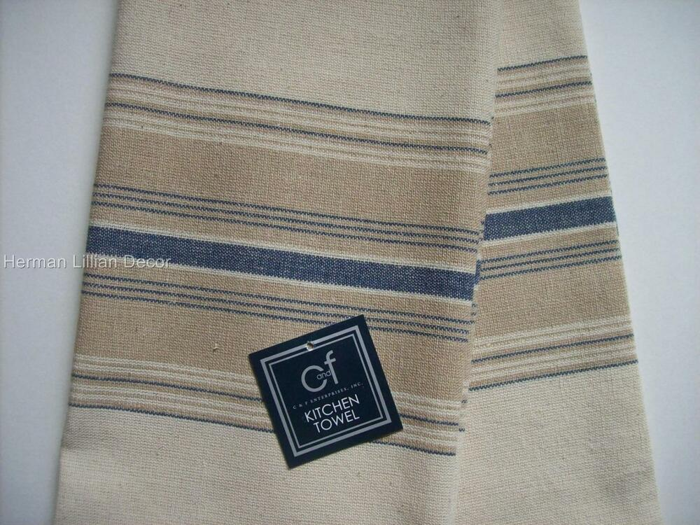 C F French Blue Cream Stripes Cotton Dish Towels Set Of 2 New Kitchen Towels Ebay
