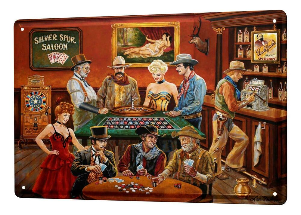 blechschild nostalgie western style saloon roulette poker metallschild 20x30 cm 4056292230348 ebay. Black Bedroom Furniture Sets. Home Design Ideas