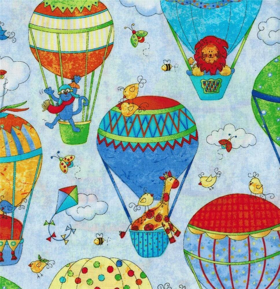 Northcott up away hot air balloon red blue yellow green for Children s upholstery fabric