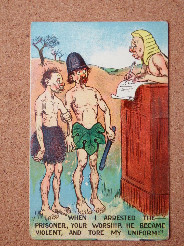Details about R&L Postcard: Comic Police Policeman, Nude/Naked, Judge Court  Law