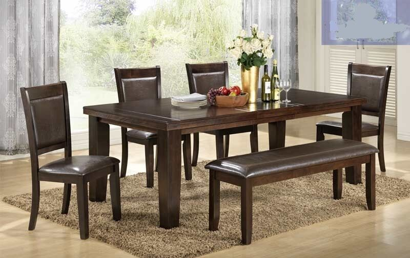 dining room 6 pcs brown table bench chairs furniture set leather seat