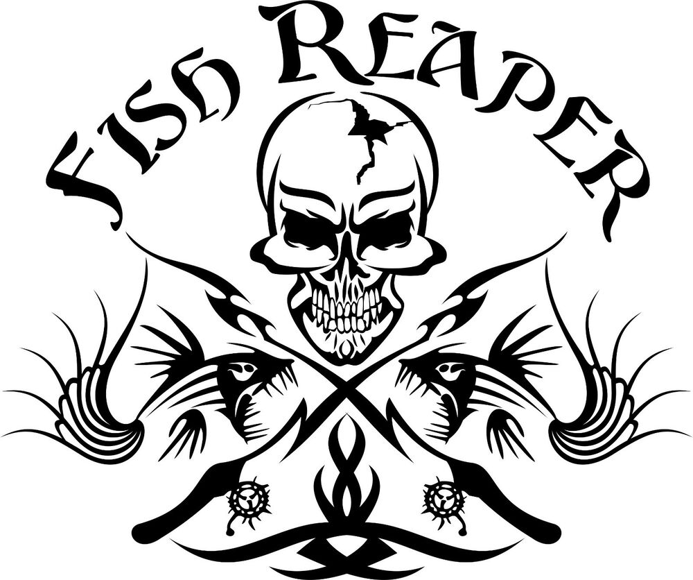 Fish reaper skull tribal fishing rod car boat truck window for Fishing stickers and decals