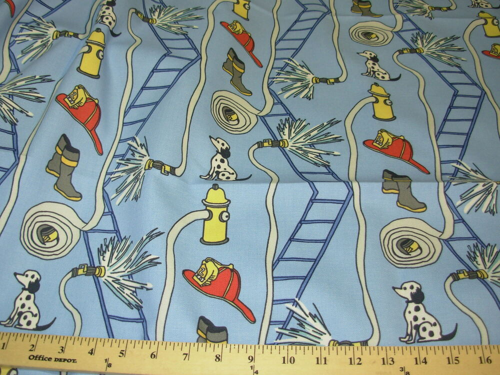 Bty bloomcraft dog animal childrens firestation cotton for Children s upholstery fabric