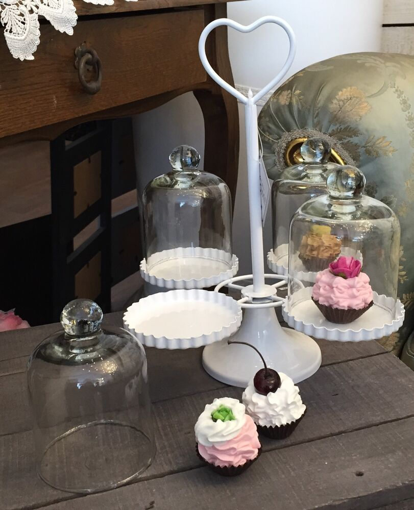 cupcake muffin kuchen st nder herz metall glas shabby. Black Bedroom Furniture Sets. Home Design Ideas
