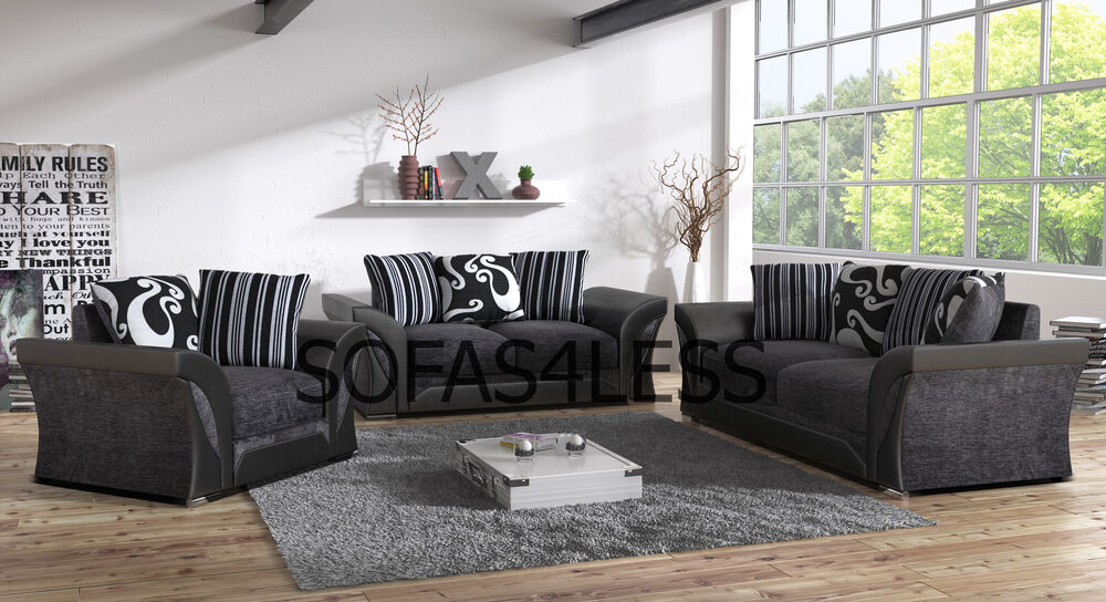 farrow 3 2 seater sofa armchair black grey fabric leather look foam seats ebay. Black Bedroom Furniture Sets. Home Design Ideas