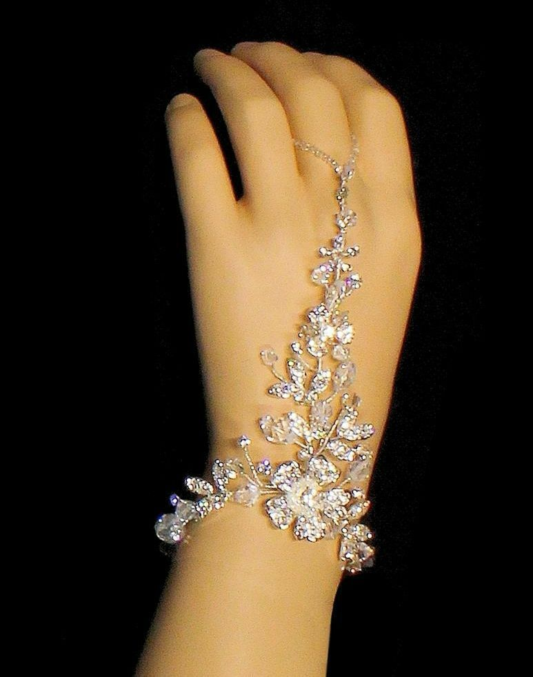 Silver Rhinestone Flower Bridal Hand Jewelry Or Barefoot