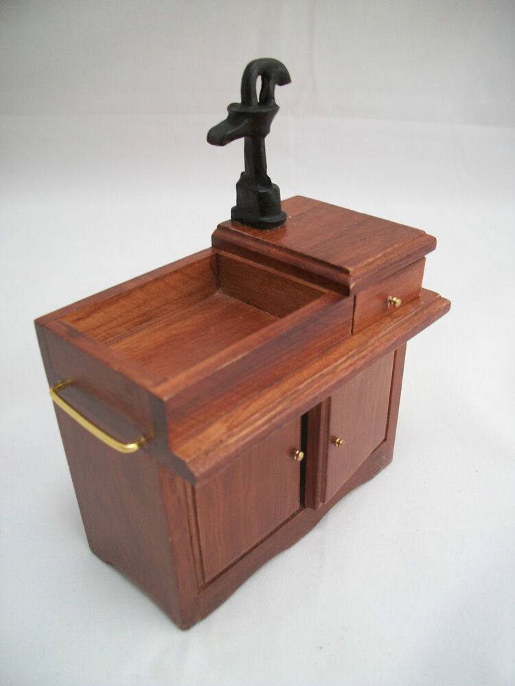 Wet Sink W Pump D2678 Miniature Dollhouse Furniture 1pc Wood 1 12 Scale Ebay
