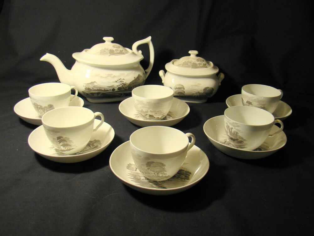 spodetransferware bat print black transfer bone china tea set 14 pieces 1803 30 ebay. Black Bedroom Furniture Sets. Home Design Ideas