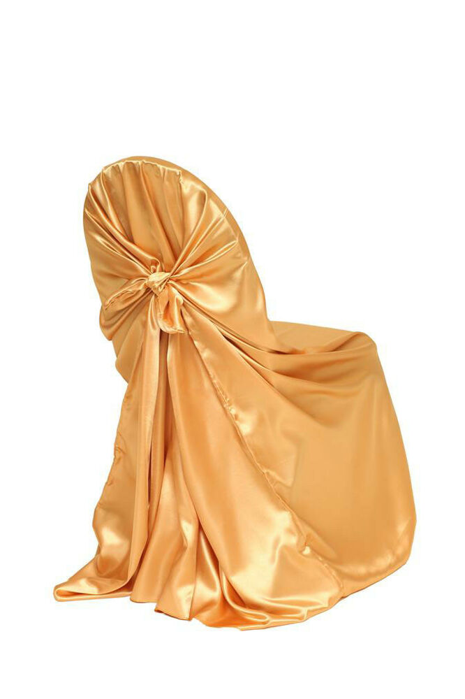 Satin Self Tie Universal Chair Covers Gold