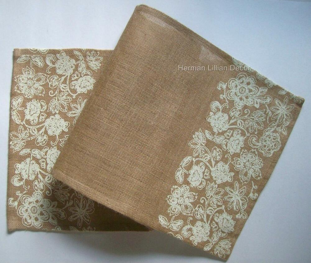 13 x 36 jute burlap table runner with cream floral on for Table runner