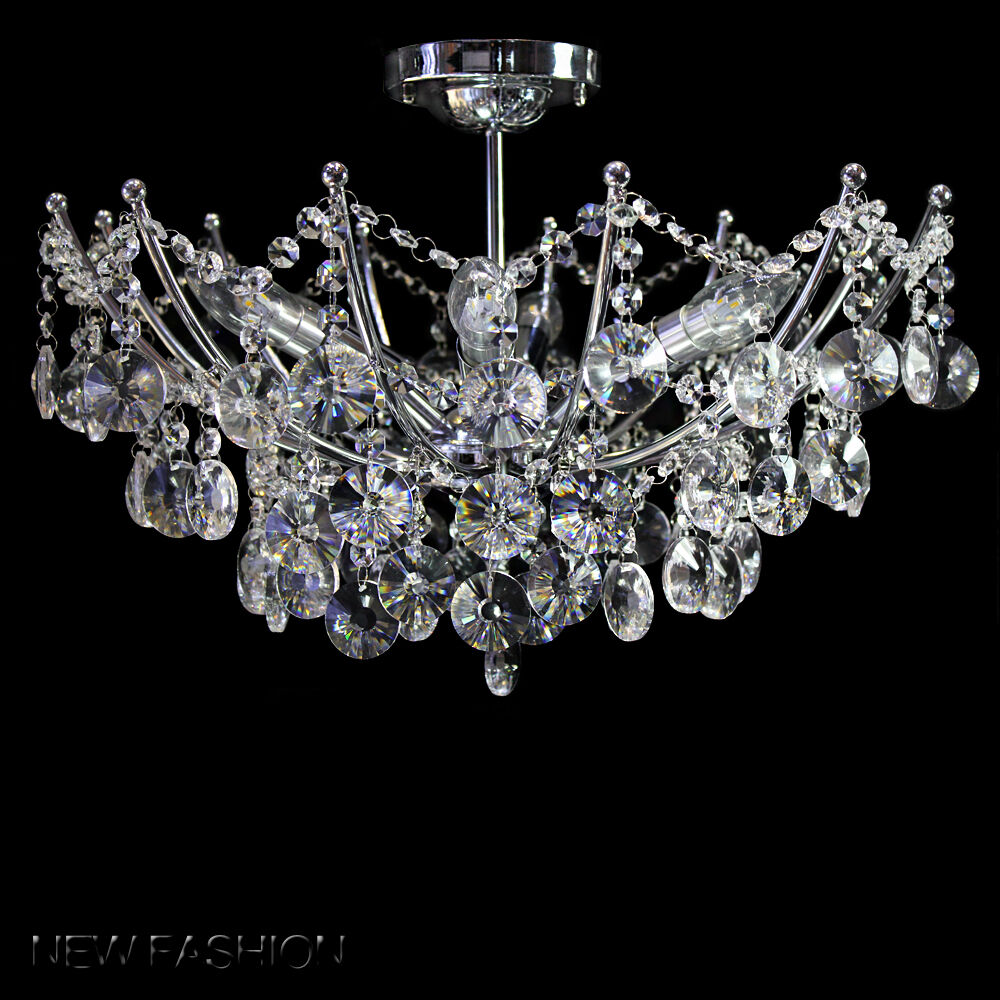 Modern clear black crystal 6 lights ceiling light chandelier lamp ebay - Ceiling lights and chandeliers ...