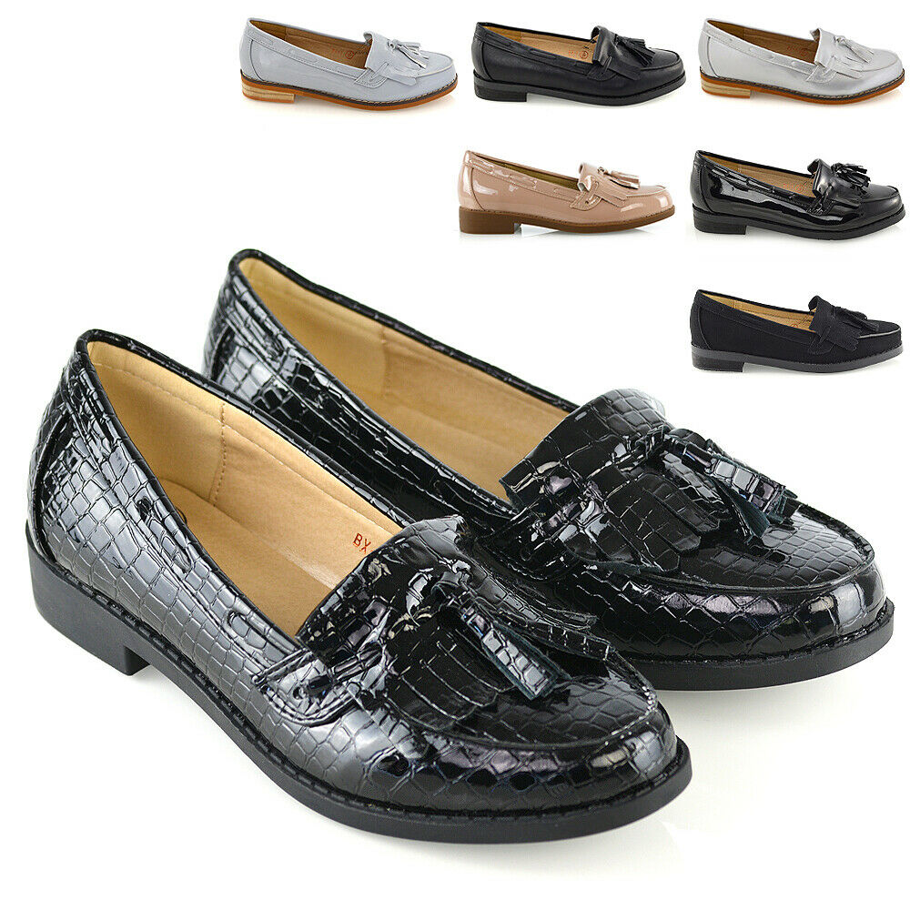 997064cca88 Details about Womens Flat Loafers Casual Black Ladies Fringe Tassel Work  School Pumps Shoes
