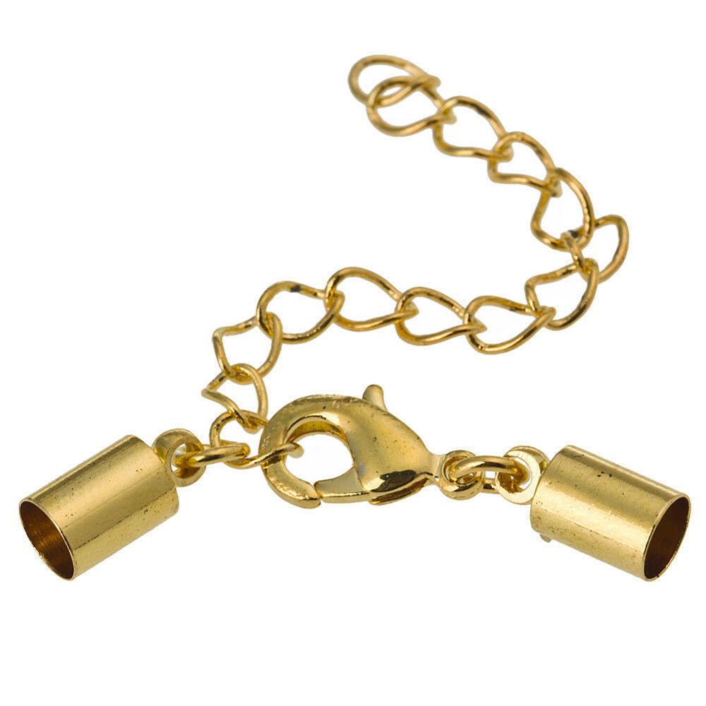 Pc gold end caps lobster clasp with extension chain for