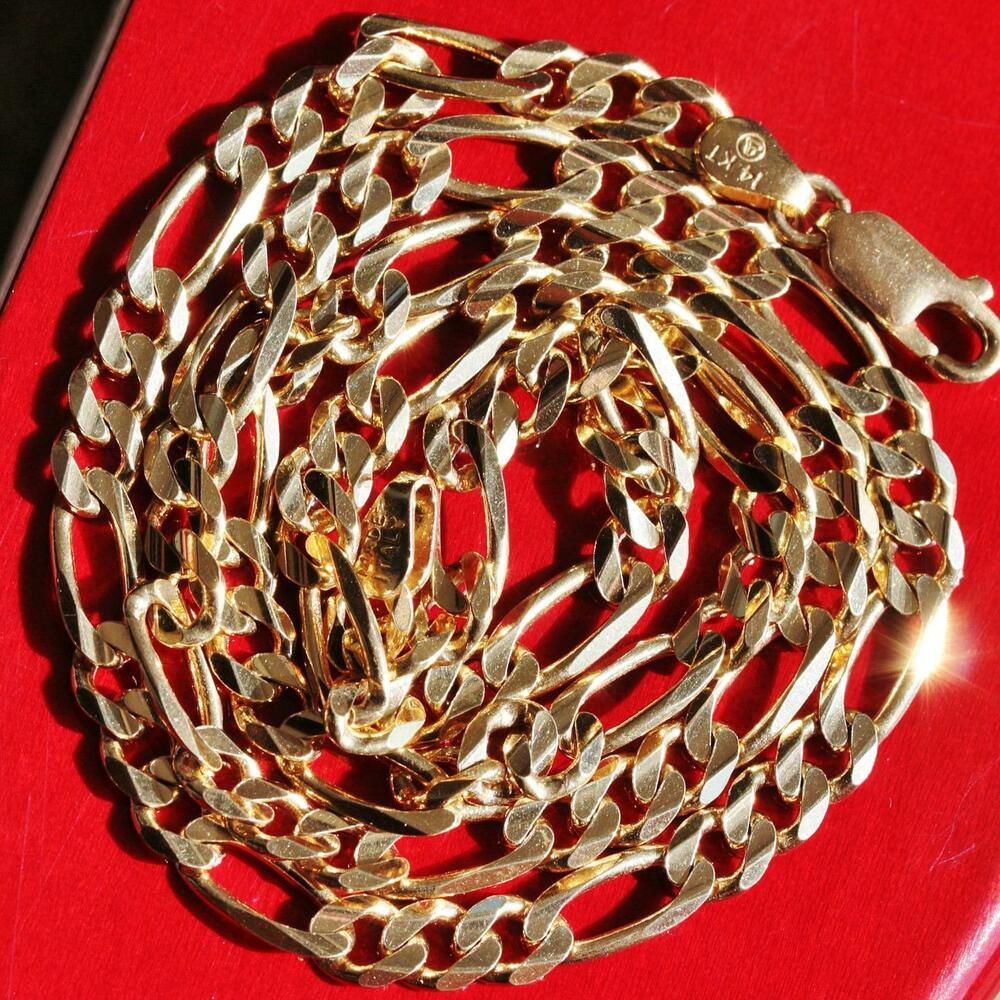 14k yellow gold 18 0 quot solid figaro link necklace 16 0gr ebay