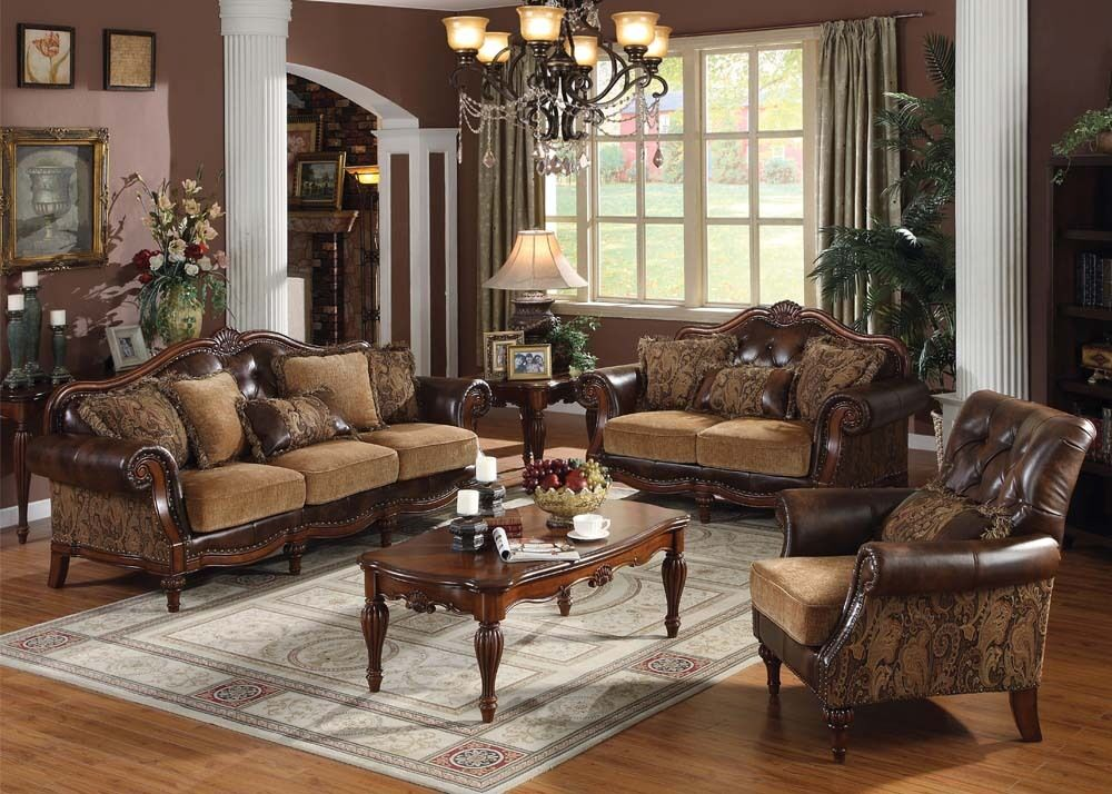 appealing traditional fabric sofas living room furniture | Dreena Set 3 Pcs Sofa Loveseat Chair Leather & Chenille ...