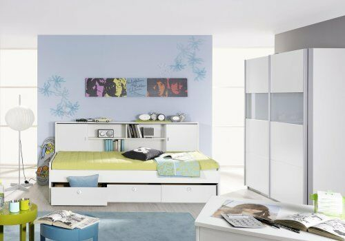 jugendzimmer kinderzimmer schrank bett 90x200 berbau chica 4 weiss neu ebay. Black Bedroom Furniture Sets. Home Design Ideas