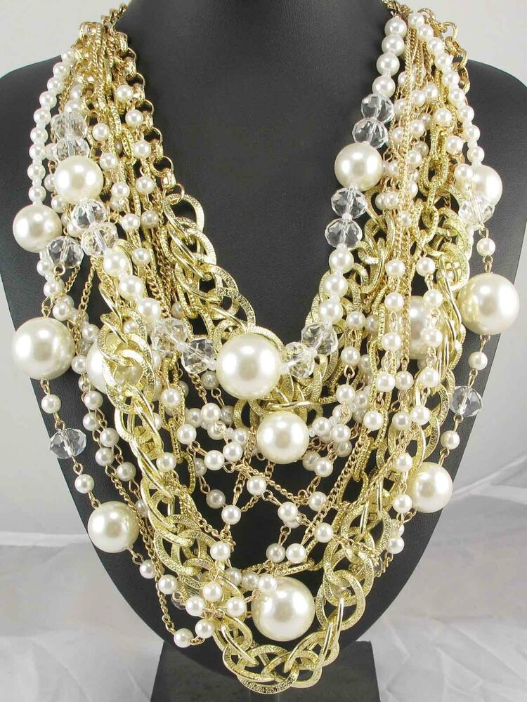 Newest Design huge Lady Statement pearl crystal chunky ...